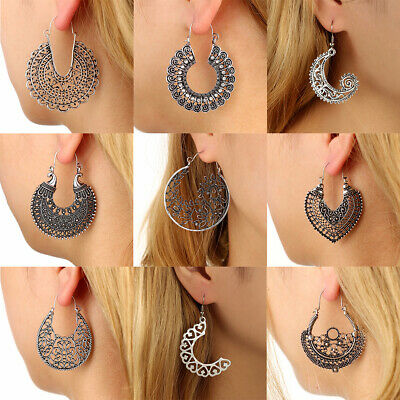 1Pair Women Vintage Boho Tibetan Silver Carved Beads Tassel Drop Dangle Earrings