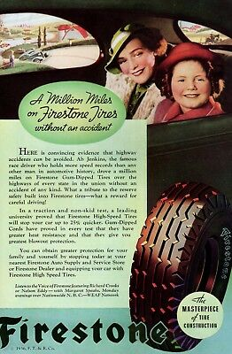 1936 Vintage print ad car part  Firestone Tire nice art Girl Sherwin Williams