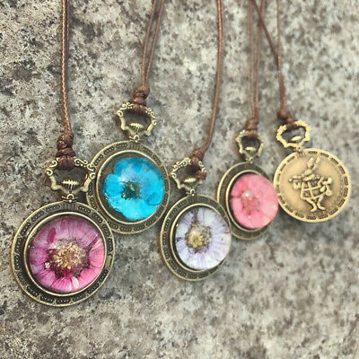 Rabbit Pocket Watch Hibiscus Dried Flower Necklace Glass Pendant Chain