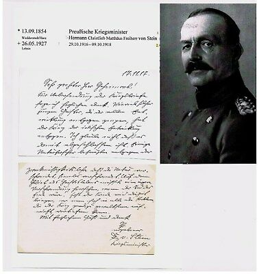 Kriegsminister General Hermann von Stein, *1854, handg.Brief