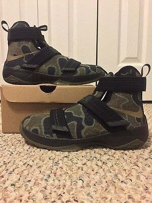 buy popular 3c183 04fd4 NEW NIKE LEBRON SOLDIER 10 X sz 7Y KIDS BLACK CAMO OLIVE FINALS ID XI 11