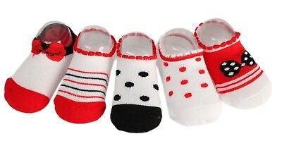5 Pairs Girls Summer Red Stripy Polka Dot Bow Ankle Short Socks Age 6-12 1 2 3