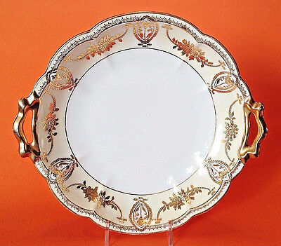 Noritake Ornate Handled Bowl - Hand Painted Off White With Gold Moriage Beading