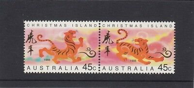CHRISTMAS IS  1998 Year of the TIGER design set of 2 joined  MNH
