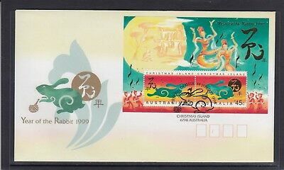 CHRISTMAS IS  1999  Year of the RABBIT  MINISHEET on FDC.