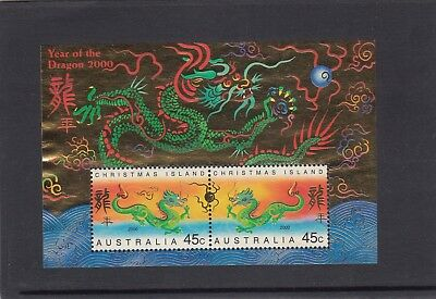 CHRISTMAS IS  2000 Year of the GOLDEN DRAGON MINISHEET MNH