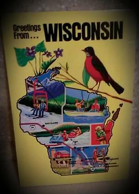 Vintage Greetings From Wisconsin Postcard. Mint NOS. Great State Collectible
