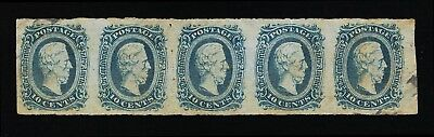 Genuine Confederate Csa Scott #11 Mint Og Blue Die-A Strip Of 5 Archer & Daly