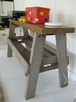 vintage wooden bench, pig bench, solid, part painted, great base for washbasin