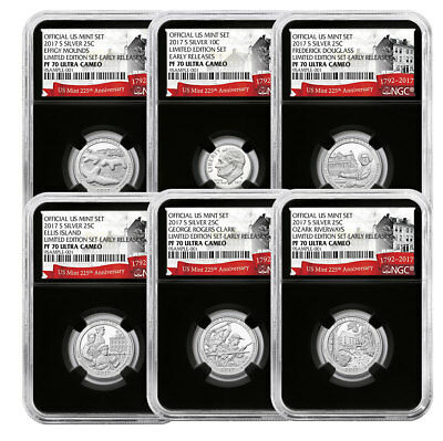 6-Coin -2017-S Limited Edition Silver Proof Set NGC PF70 ER Black 225th SKU51984