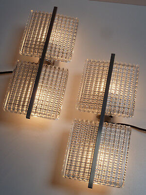 70er WANDLEUCHTEN 2 WANDLAMPEN Metall Glas 70s a pair of sconces 2 pieces
