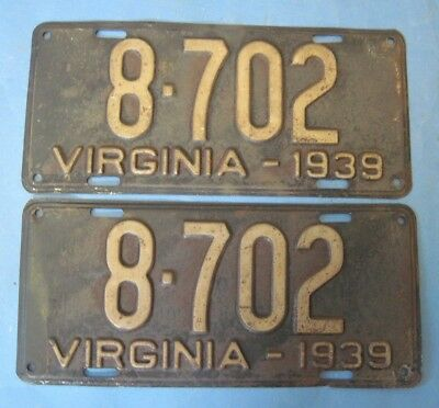 1939 Virginia License Plates Matched pair with low 4 digit number
