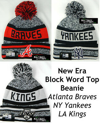 New Era Block Word Top Mlb/nhl Beanie - Atlanta Braves/ny Yankees/la Kings