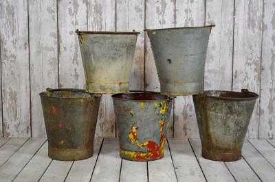 Vintage Antique Galvanised Riveted Bucket Log Basket Garden Herb Planter