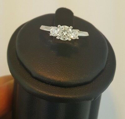 Round 1 Ct Three Stone Diamond Engagement Wedding Ring 14K Solid White Gold
