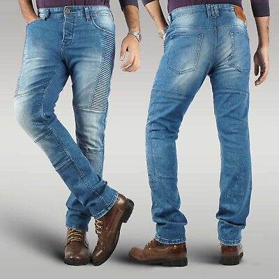 Men's motorbike slim fit stretch jeans made with aramid biker armoured trouser