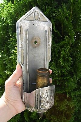 antique art deco stamped metal wall sconce