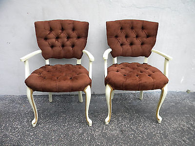 French Painted Tufted Pair of Living Room Side Chairs 5831