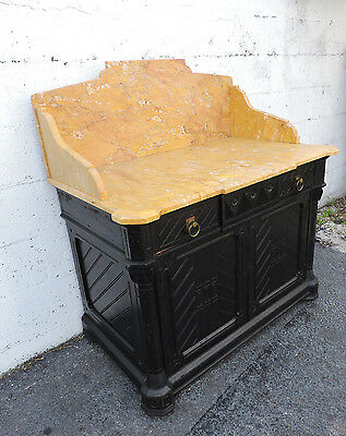 Victorian Early Eastlake Painted Black with Marble Top Dresser Wash Stand 8352