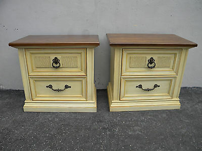 French Painted Nightstands Side End Tables by Stanley 3550