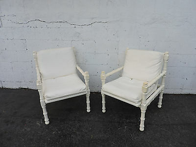 Hollywood Regency Faux Bamboo Painted Pair of Side Chairs by Newton 8264