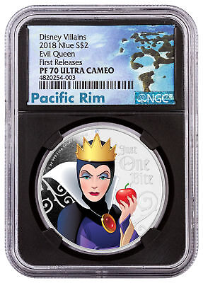 2018 Niue Disney Villains - Evil Queen 1 oz Silver NGC PF70 UC FR Black SKU53808