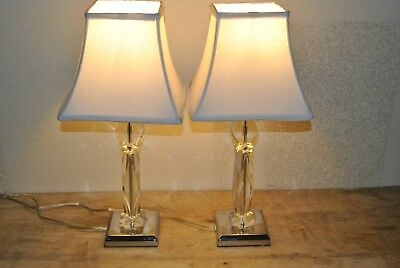 2 Piece Matching Crystal Table Lamp Set With Shades Is 21 1 2
