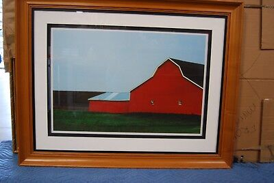 Large Ethan Allen Framed Art Red Barnscape Double Matted Gl Enclosed