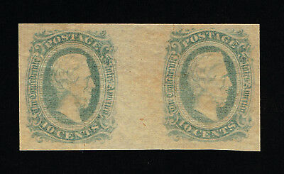 GENUINE CONFEDERATE CSA SCOTT #11d GUTTER PAIR MINT OG GREEN DIE-A ARCHER & DALY
