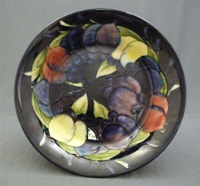 """Large Walter Moorcroft Pottery England 8 3/8"""" Wisteria Plum Pattern Footed Bowl"""