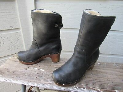 Ugg Australia 3207 LYNNEA Black Leather Shearling Clog Boot US 6 EU 37 Cuff  EUC 06f981a5a