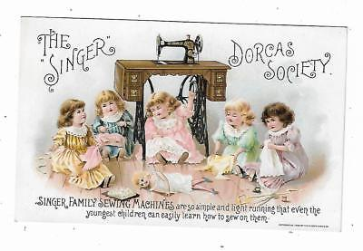 1895 Trade Card Singer Family Sewing Machines Dorcas Society Girls Mending Dolls