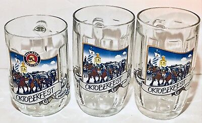 Set (3) .5L Liter Dimpled Glass Beer Mugs Steins Paulaner Munchen Oktoberfest