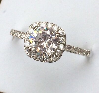 AD132 925 Sterling Silver Art Deco / Vintage 1.5 White Sapphire  Cushion Ring U
