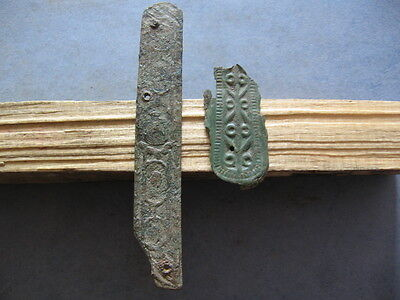 Bronze Age Ancient Illyrians 2 Engraved Warriors Belt Decorations 1100-900 B.c.