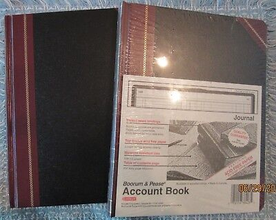Boorum & Pease Account Books (2), Black/Red Cover, Journal Ruling 38-300-J, New.