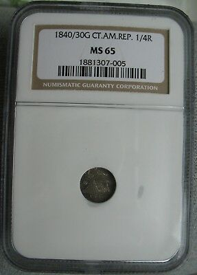 1840/30 G Guatemala Central American Republic  1/4 Real NGC MS-65