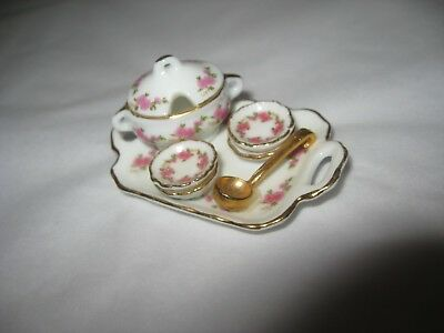 Dollhouse Miniature Porcelain Soup Set Reutter Pink Rose Lisa Pattern 1:12