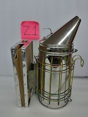 Large Bee Hive Smoker Stainless Steel w/Heat Shield Beekeeping Equipment