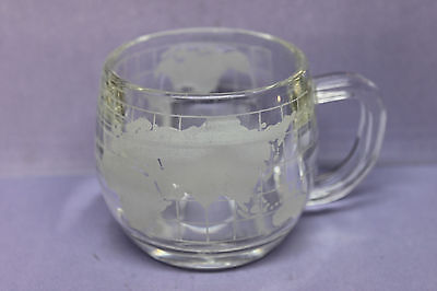"Vintage ""The Nestle Co. Inc."" Glass Coffee Cup Mug Etched w/ World Map Globe"