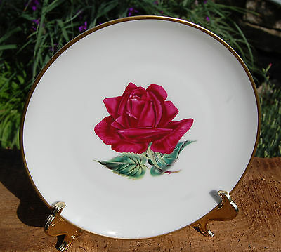 "Hc Selb Bavaria Red Rose Decorative 8"" Plate"