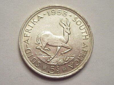 1953 South Africa Silver 5 Shillings
