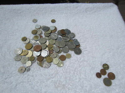 Lot of 100 assorted world foreign coins mixed bulk + 5 Euro coins # 4