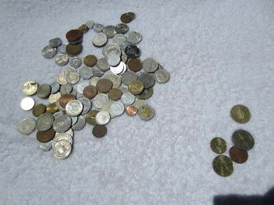 Lot of 100 assorted world foreign coins mixed bulk + 5 Euro coins # 7