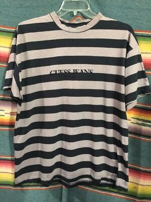 4cbabd8e21 Vintage GUESS JEANS Striped T Shirt XL Navy Blue and Purple RARE 80s 90s USA