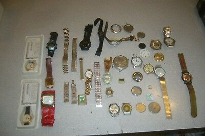 VINTAGE JUNK DRAWER MISC. LOT of 15 Watch's for parts only as is and two new.