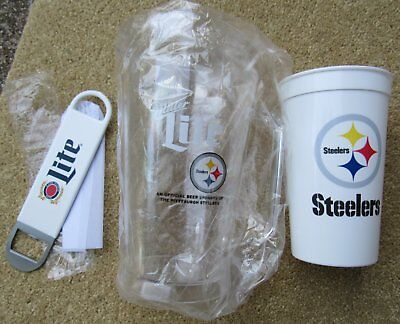 Miller Lite Pittsburgh Steelers Mini Pitcher Bud Light Cup & Flat Opener NEW Lot