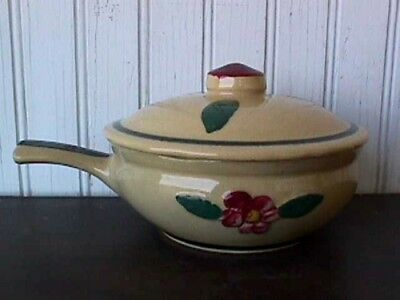 Raised Pansy French-Handled Individual Casserole Watt Pottery 1950'S #2-R