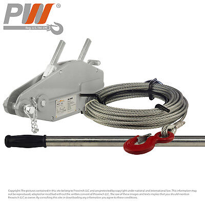Prowinch 1760 lbs. 800Kg Lever Wire Rope Puller Hoist 65 ft wire rope