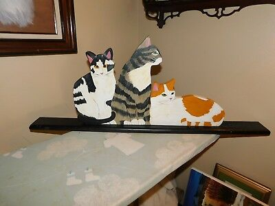 Hand Carved Wood Cats Decoration Hand Painted Signed Large Size Handmade